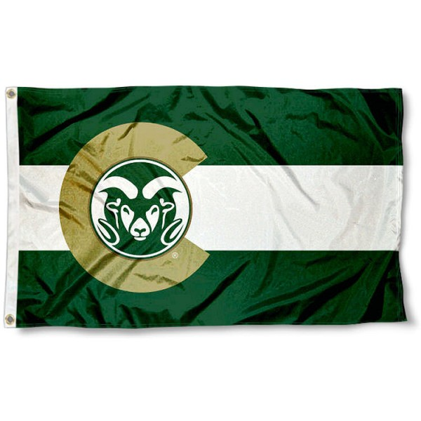 Colorado State Rams State of Colorado Logo Flag measures 3x5 feet, is made of 100% polyester, offers quadruple stitched flyends, has two metal grommets, and offers screen printed NCAA team logos and insignias. Our Colorado State Rams State of Colorado Logo Flag is officially licensed by the selected university and NCAA.