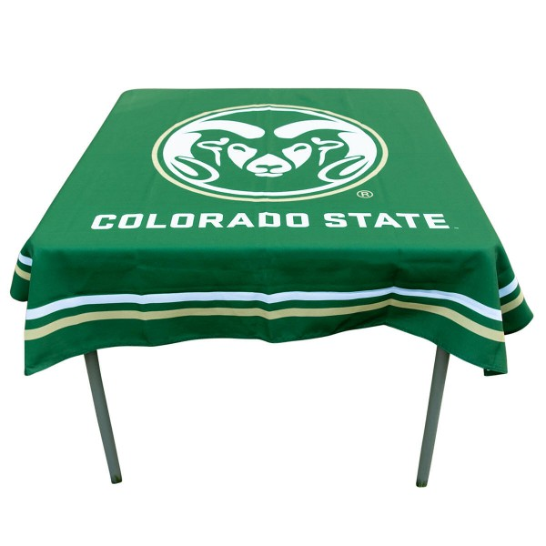 Colorado State Rams Table Cloth measures 48 x 48 inches, is made of 100% Polyester, seamless one-piece construction, and is perfect for any tailgating table, card table, or wedding table overlay. Each includes Officially Licensed Logos and Insignias.