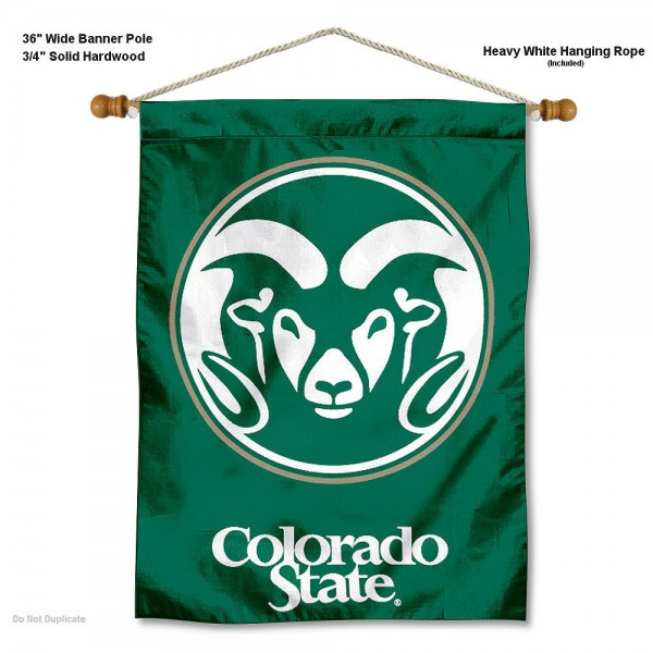 "Colorado State Rams Wall Banner is constructed of polyester material, measures a large 30""x40"", offers screen printed athletic logos, and includes a sturdy 3/4"" diameter and 36"" wide banner pole and hanging cord. Our Colorado State Rams Wall Banner is Officially Licensed by the selected college and NCAA."