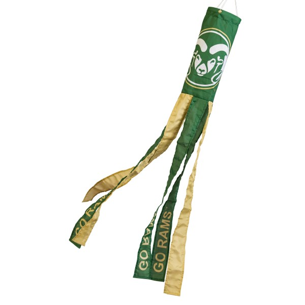 "Colorado State Rams Windsock measures 40"" in length by 5"" in width, is made of 100% polyester, offers screen printed NCAA team logos, team names and insignias, has 6 alternative colored streamers and tails, includes a double stringed bridle and hanging swivel clip, and our Colorado State Rams Windsock is authentic, licensed, and approved by the selected university or team."
