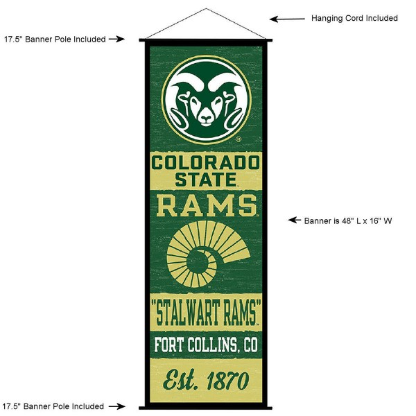 "This ""ready to hang"" Colorado State University Decor and Banner is made of polyester material, measures a large 17.5"" x 48"", offers screen printed athletic logos, and includes both top and bottom 3/4"" diameter plastic banner poles and hanging cord. Our Colorado State University D�cor and Banner is Officially Licensed by the selected college and NCAA."