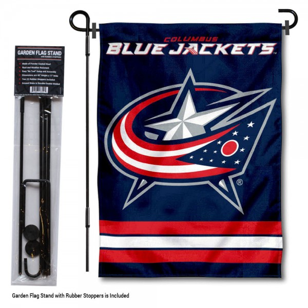 Columbus Blue Jackets Garden Flag and Flagpole Stand