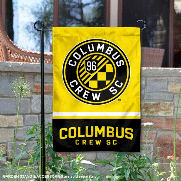 Columbus Crew Garden Flag is 12.5x18 inches in size, is made of 2-ply polyester, and has two sided screen printed logos and lettering. Available with Express Next Day Shipping, our Columbus Crew Garden Flag is MLS Genuine Merchandise and is double sided.