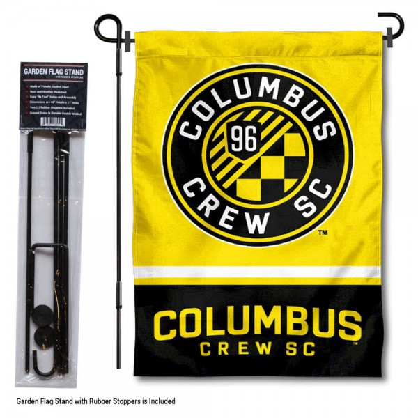 "Columbus Crew Garden Flag and Flagpole Stand kit includes our 12.5""x18"" garden banner which is made of 2 ply poly with liner and has screen printed licensed logos. Also, a 40""x17"" inch garden flag stand is included so your Columbus Crew Garden Flag and Flagpole Stand is ready to be displayed with no tools needed for setup. Fast Overnight Shipping is offered and the flag is Officially Licensed and Approved by the selected team."