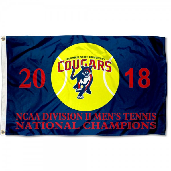 Columbus State Cougars Mens Tennis D2 2018 National Championship Flag measures 3x5 feet, is made of 100% polyester, offers quadruple stitched flyends, has two metal grommets, and offers screen printed NCAA team logos and insignias. Our Columbus State Cougars Mens Tennis D2 2018 National Championship Flag is officially licensed by the selected university and NCAA.