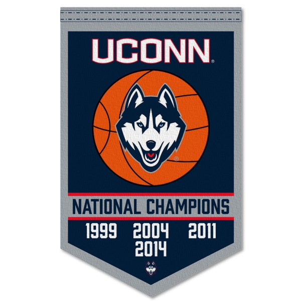 Connecticut Huskies Basketball National Champions Banner consists of our sports dynasty year banner which measures 15x24 inches, is constructed of rigid felt, is single sided imprinted, and offers a pennant sleeve for insertion of a pennant stick, if desired. This sports banner is a unique collectible and keepsake of the legacy game and is Officially Licensed and University, School, and College Approved.