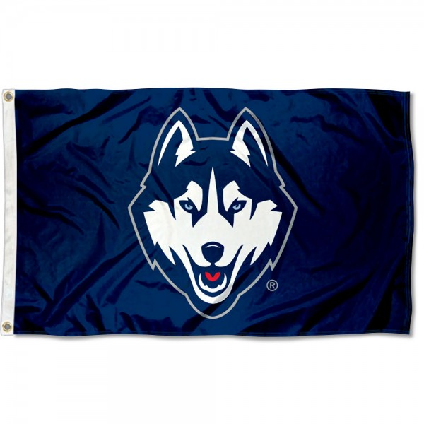Connecticut Huskies Blue Flag measures 3x5 feet, is made of 100% polyester, offers quadruple stitched flyends, has two metal grommets, and offers screen printed NCAA team logos and insignias. Our Connecticut Huskies Blue Flag is officially licensed by the selected university and NCAA.