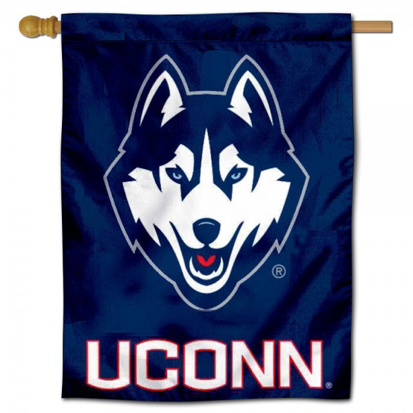 Connecticut Huskies Decorative House Banner is constructed of polyester material, is a vertical house flag, measures 30x40 inches, offers screen printed NCAA team insignias, and has a top pole sleeve to hang vertically. Our Connecticut Huskies Decorative House Banner is officially licensed by the selected university and NCAA.