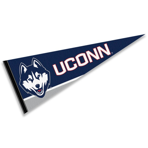 Connecticut Huskies Felt Pennant consists of our full size sports pennant which measures 12x30 inches, is constructed of felt, is single sided imprinted, and offers a pennant sleeve for insertion of a pennant stick, if desired. This UCONN Huskies Felt Pennant is officially licensed by the selected university and the NCAA.
