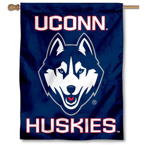 Connecticut Huskies House Flag is a vertical house flag which measures 30x40 inches, is made of 2 ply 100% polyester, offers dye sublimated NCAA team insignias, and has a top pole sleeve to hang vertically. Our Connecticut Huskies House Flag is officially licensed by the selected university and the NCAA.