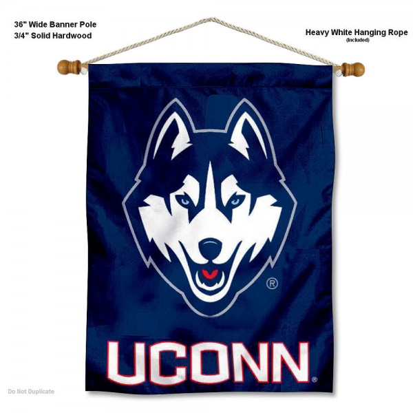 """Connecticut Huskies Wall Banner is constructed of polyester material, measures a large 30""""x40"""", offers screen printed athletic logos, and includes a sturdy 3/4"""" diameter and 36"""" wide banner pole and hanging cord. Our Connecticut Huskies Wall Banner is Officially Licensed by the selected college and NCAA."""