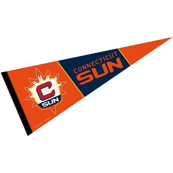 Connecticut Sun Pennant is our WNBA team pennant which measures 12x30 inches, is made of soft wool and felt blends, has a pennant sleeve, and is single sided screen printed. Our Connecticut Sun Pennant is perfect for showing your WNBA team allegiance in any room of the house and is WNBA officially licensed