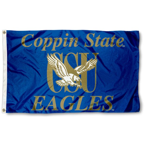 This Coppin State University Flag measures 3'x5', is made of 100% nylon, has quad-stitched sewn flyends, and has two-sided Coppin State University printed logos. Our Coppin State University Flag is officially licensed and all flags for Coppin State University are approved by the NCAA and Same Day UPS Express Shipping is available.