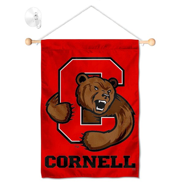 "Cornell Big Red Banner with Suction Cup kit includes our 13""x18"" garden banner which is made of 2 ply poly with liner and has screen printed licensed logos. Also, a 17"" wide banner pole with suction cup is included so your Cornell Big Red Banner with Suction Cup is ready to be displayed with no tools needed for setup. Fast Overnight Shipping is offered and the flag is Officially Licensed and Approved by the selected team."