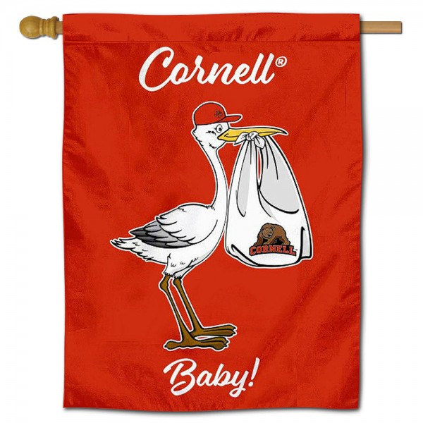 Cornell Big Red New Baby Flag measures 30x40 inches, is made of poly, has a top hanging sleeve, and offers dye sublimated Cornell Big Red logos. This Decorative Cornell Big Red New Baby House Flag is officially licensed by the NCAA.