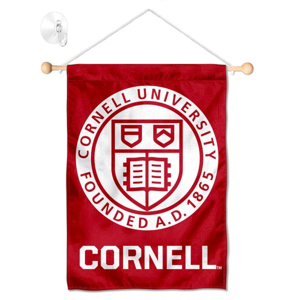 "Cornell Big Red Window and Wall Banner kit includes our 13""x18"" garden banner which is made of 2 ply poly with liner and has screen printed licensed logos. Also, a 17"" wide banner pole with suction cup is included so your Cornell Big Red Window and Wall Banner is ready to be displayed with no tools needed for setup. Fast Overnight Shipping is offered and the flag is Officially Licensed and Approved by the selected team."