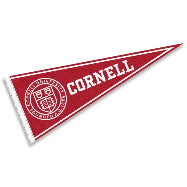 Cornell Felt Pennant consists of our full size pennant which measures 12x30 inches, constructed of felt, single sided imprinted, and offers a pennant stick sleeve. This Cornell Felt Pennant is officially licensed by the selected University and the NCAA.