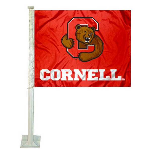 Cornell University Car Flag measures 12x15 inches, is constructed of sturdy 2 ply polyester, and has screen printed school logos which are readable and viewable correctly on both sides. Cornell University Car Flag is officially licensed by the NCAA and selected university.