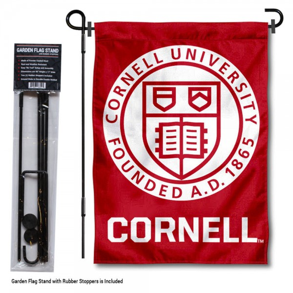 "Cornell University Garden Flag and Stand kit includes our 13""x18"" garden banner which is made of 2 ply poly with liner and has screen printed licensed logos. Also, a 40""x17"" inch garden flag stand is included so your Cornell University Garden Flag and Stand is ready to be displayed with no tools needed for setup. Fast Overnight Shipping is offered and the flag is Officially Licensed and Approved by the selected team."