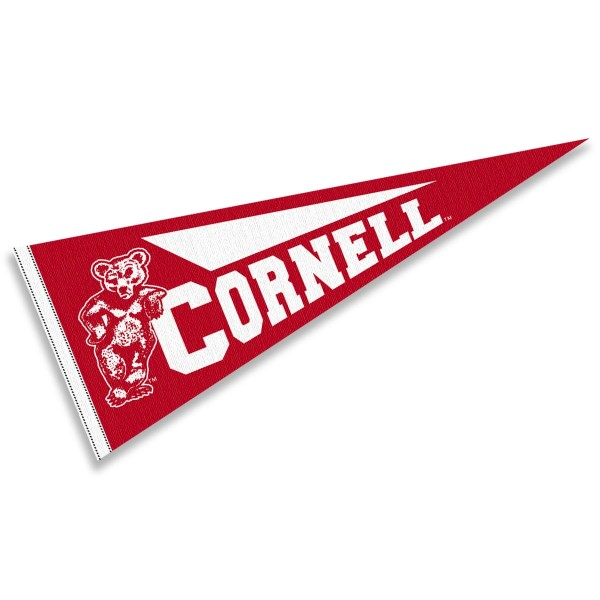 Cornell University Pennant measures 12x30 inches, is made of wool, and the School logos are printed with raised lettering. Our Cornell University Pennant is Officially Licensed and Approved by the University or Institution.