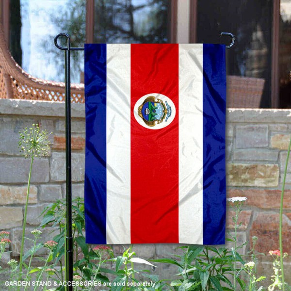 Costa Rica Double Sided Garden Flag is 13x18 inches in size, is made of 2-layer polyester, screen printed logos and lettering, and is viewable on both sides. Available same day shipping, our Costa Rica Double Sided Garden Flag is a great addition to your decorative garden flag selections.