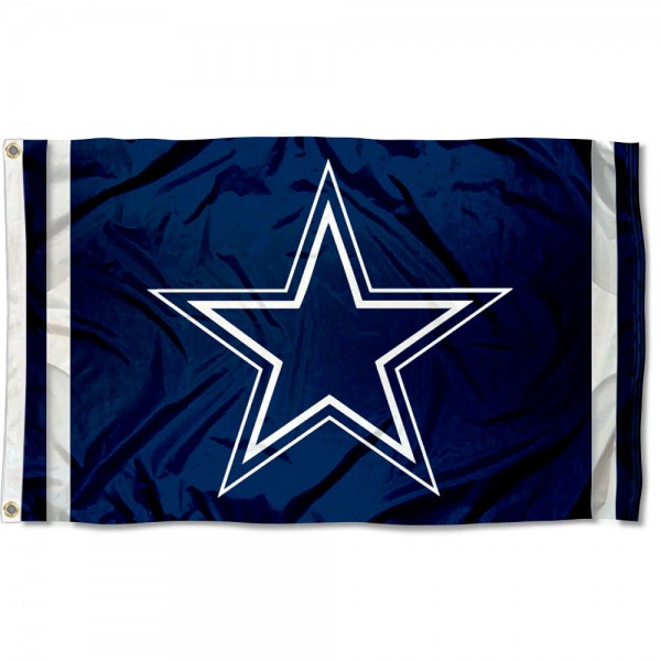 Our Cowboys Star Flag is double sided, made of poly, 3'x5', has two grommets, and double-stitched fly ends. These Cowboys Star Flags are Officially Licensed by the NFL.