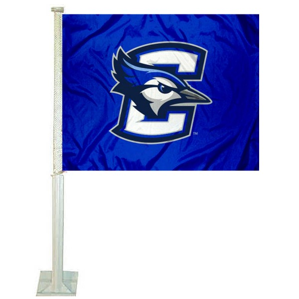 Creighton Bluejays Car Flag measures 12x15 inches, is constructed of sturdy 2 ply polyester, and has dye sublimated school logos which are readable and viewable correctly on both sides. Creighton Bluejays Car Flag is officially licensed by the NCAA and selected university.