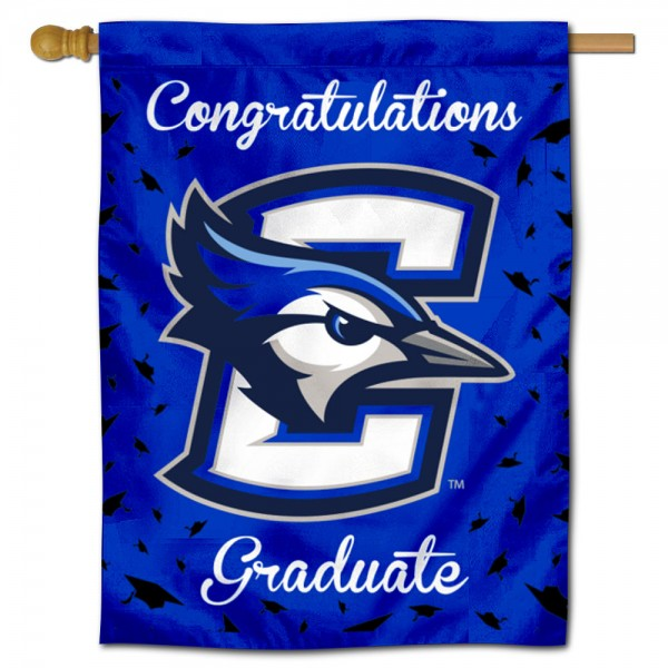 Creighton Bluejays Congratulations Graduate Flag measures 30x40 inches, is made of poly, has a top hanging sleeve, and offers dye sublimated Creighton Bluejays logos. This Decorative Creighton Bluejays Congratulations Graduate House Flag is officially licensed by the NCAA.