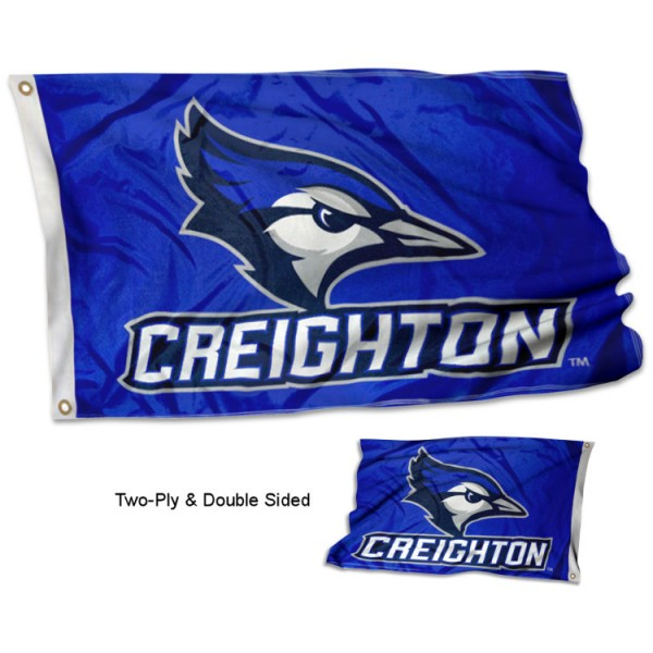 Creighton Bluejays Double Sided Flag measures 3'x5', is made of 2 layer 100% polyester, has quadruple stitched flyends for durability, and is readable correctly on both sides. Our Creighton Bluejays Double Sided Flag is officially licensed by the university, school, and the NCAA.