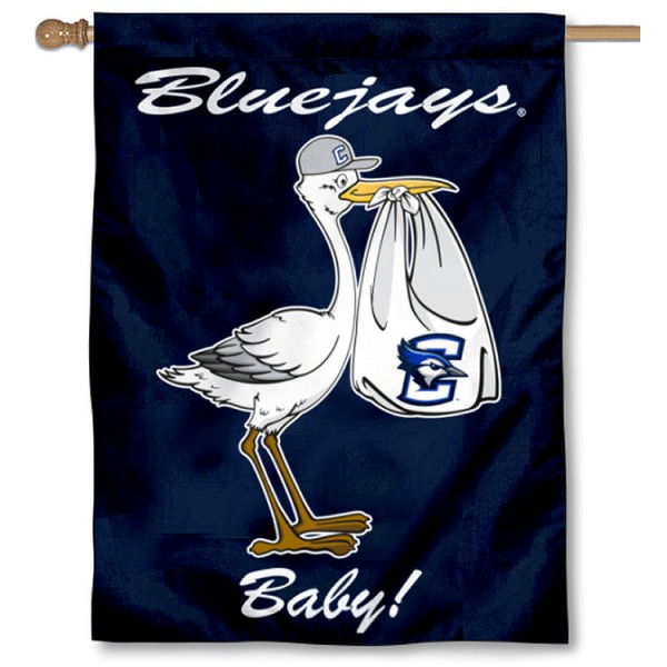Creighton Bluejays New Baby Flag measures 30x40 inches, is made of poly, has a top hanging sleeve, and offers dye sublimated Creighton Bluejays logos. This Decorative Creighton Bluejays New Baby House Flag is officially licensed by the NCAA.