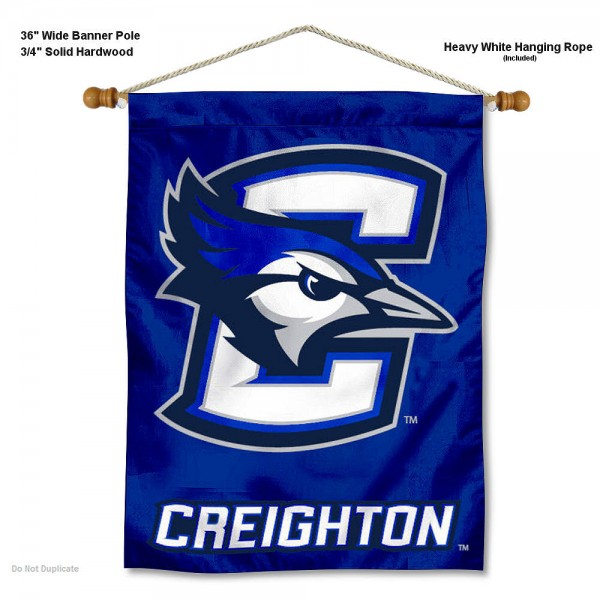 "Creighton Bluejays New Logo Wall Banner is constructed of polyester material, measures a large 30""x40"", offers screen printed athletic logos, and includes a sturdy 3/4"" diameter and 36"" wide banner pole and hanging cord. Our Creighton Bluejays New Logo Wall Banner is Officially Licensed by the selected college and NCAA."