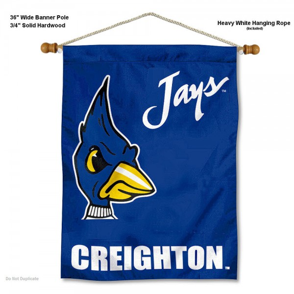 "Creighton Bluejays Wall Banner is constructed of polyester material, measures a large 30""x40"", offers screen printed athletic logos, and includes a sturdy 3/4"" diameter and 36"" wide banner pole and hanging cord. Our Creighton Bluejays Wall Banner is Officially Licensed by the selected college and NCAA."