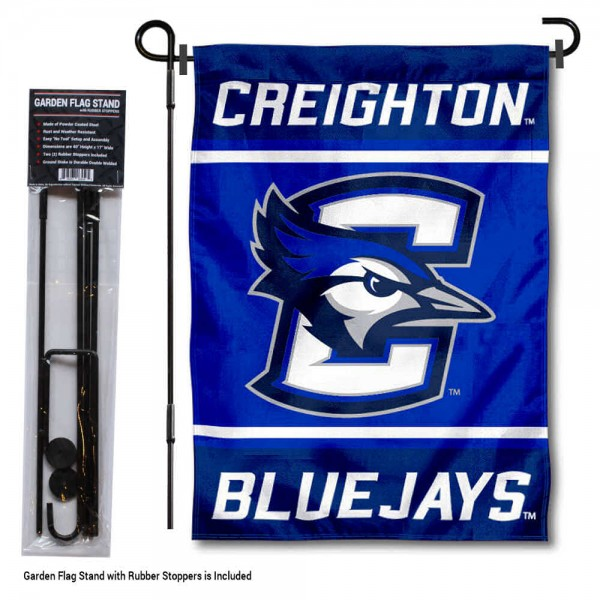 """Creighton Jays Garden Flag and Pole Stand Holder kit includes our 13""""x18"""" garden banner which is made of 2 ply poly with liner and has screen printed licensed logos. Also, a 40""""x17"""" inch garden flag stand is included so your Creighton Jays Garden Flag and Pole Stand Holder is ready to be displayed with no tools needed for setup. Fast Overnight Shipping is offered and the flag is Officially Licensed and Approved by the selected team."""