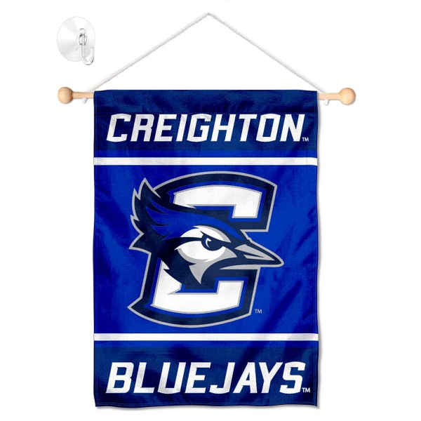 "Creighton Jays Window and Wall Banner kit includes our 13""x18"" garden banner which is made of 2 ply poly with liner and has screen printed licensed logos. Also, a 17"" wide banner pole with suction cup is included so your Creighton Jays Window and Wall Banner is ready to be displayed with no tools needed for setup. Fast Overnight Shipping is offered and the flag is Officially Licensed and Approved by the selected team."