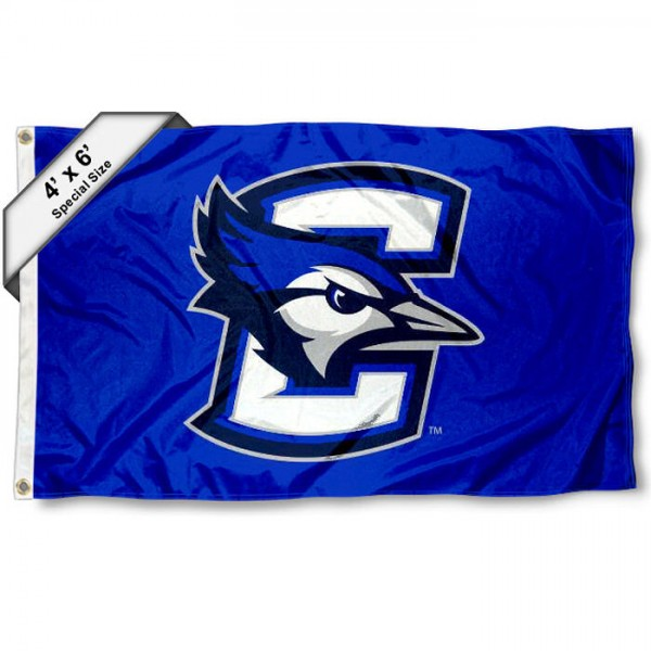 Creighton University Large 4x6 Flag measures 4x6 feet, is made thick woven polyester, has quadruple stitched flyends, two metal grommets, and offers screen printed NCAA Creighton University Large athletic logos and insignias. Our Creighton University Large 4x6 Flag is officially licensed by Creighton University and the NCAA.