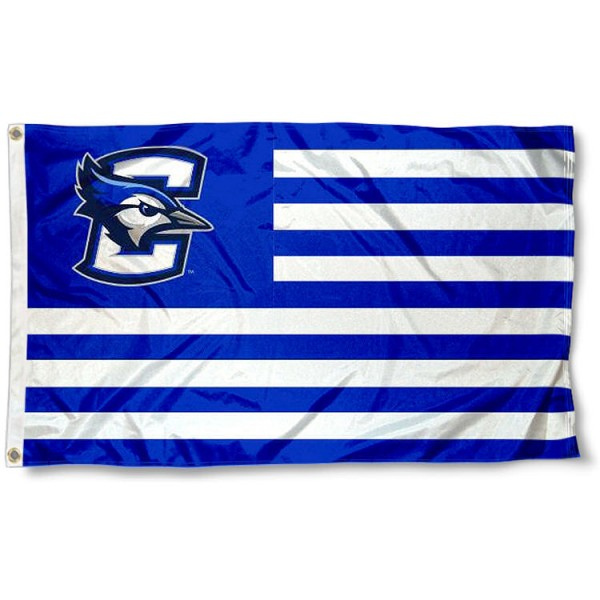 Creighton University Stripes Flag measures 3'x5', is made of polyester, offers double stitched flyends for durability, has two metal grommets, and is viewable from both sides with a reverse image on the opposite side. Our Creighton University Stripes Flag is officially licensed by the selected school university and the NCAA.