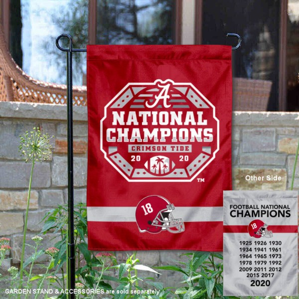 Crimson Tide 18x and 2020 College Football National Champions Yard Flag is 13x18 inches in size, is made of 2-layer polyester, screen printed university athletic logos and lettering, and is readable and viewable correctly on both sides. Available same day shipping, our Crimson Tide 18x and 2020 College Football National Champions Yard Flag is officially licensed and approved by the university and the NCAA.