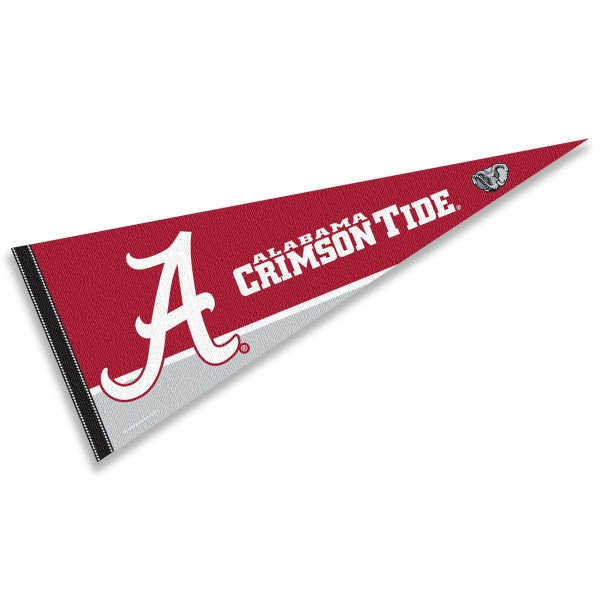Crimson Tide Cursive A Logo Pennant consists of our full size sports pennant which measures 12x30 inches, is constructed of felt, is single sided imprinted, and offers a pennant sleeve for insertion of a pennant stick, if desired. This Crimson Tide Pennant Decorations is Officially Licensed by the selected university and the NCAA.