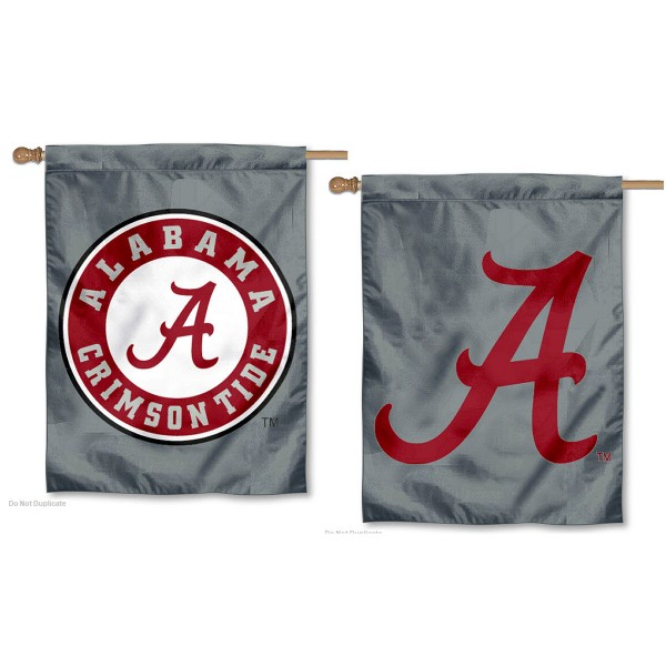 Crimson Tide Double Logo Gray Banner Flag is a vertical house flag which measures 30x40 inches, is made of 2 ply 100% polyester, offers dye sublimated NCAA team insignias, and has a top pole sleeve to hang vertically. Our Crimson Tide Double Logo Gray Banner Flag is officially licensed by the selected university and the NCAA.