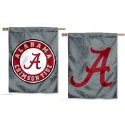 Crimson Tide Double Logo Gray Banner Flag