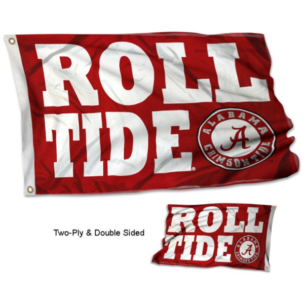 Crimson Tide Roll Tide Flag measures 3'x5', is made of 2 layer 100% polyester, has quadruple stitched flyends for durability, and is readable correctly on both sides. Our Crimson Tide Roll Tide Flag is officially licensed by the university, school, and the NCAA.