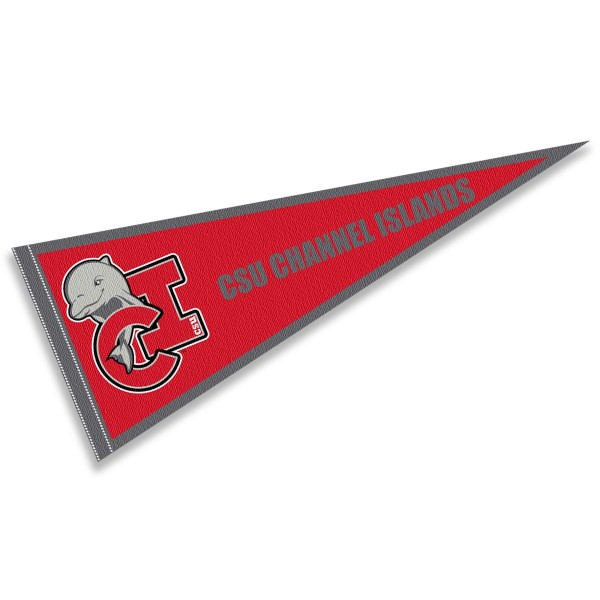 CSU Channel Islands Pennant consists of our full size sports pennant which measures 12x30 inches, is constructed of felt, is single sided imprinted, and offers a pennant sleeve for insertion of a pennant stick, if desired. This CSU Channel Islands Pennant Decorations is Officially Licensed by the selected university and the NCAA.