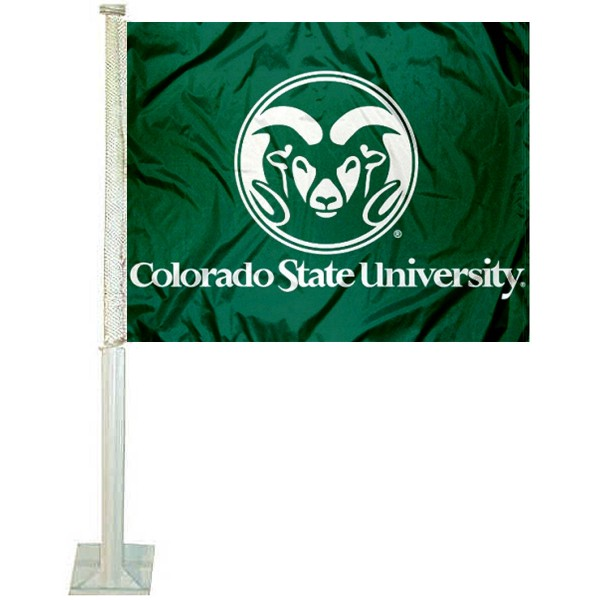 CSU Rams Car Window Flag measures 12x15 inches, is constructed of sturdy 2 ply polyester, and has screen printed school logos which are readable and viewable correctly on both sides. CSU Rams Car Window Flag is officially licensed by the NCAA and selected university.