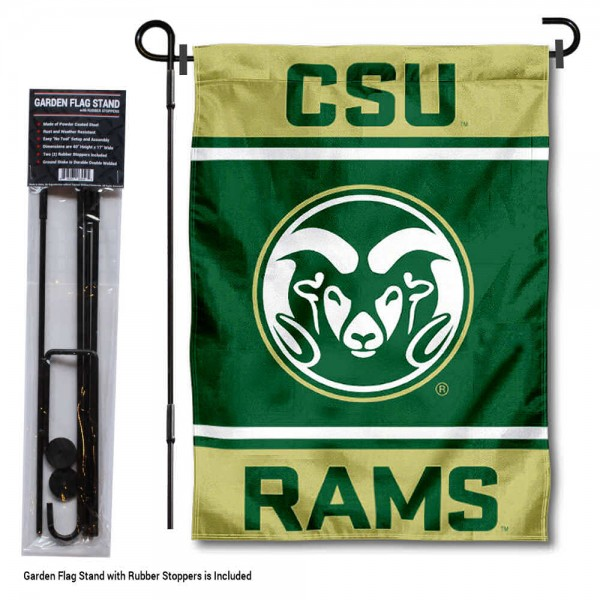 "CSU Rams Garden Flag and Pole Stand Holder kit includes our 13""x18"" garden banner which is made of 2 ply poly with liner and has screen printed licensed logos. Also, a 40""x17"" inch garden flag stand is included so your CSU Rams Garden Flag and Pole Stand Holder is ready to be displayed with no tools needed for setup. Fast Overnight Shipping is offered and the flag is Officially Licensed and Approved by the selected team."