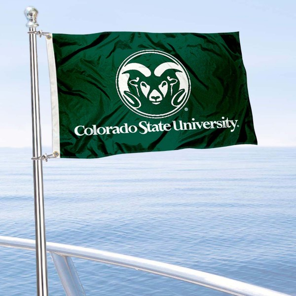 CSU Rams Golf Cart Flag is a small 12x18 inches, made of 2-ply polyester with quad stitched flyends, and is double-sided. Our Golf Cart Logo Flags are Officially Licensed and Approved by Colorado State University and NCAA.