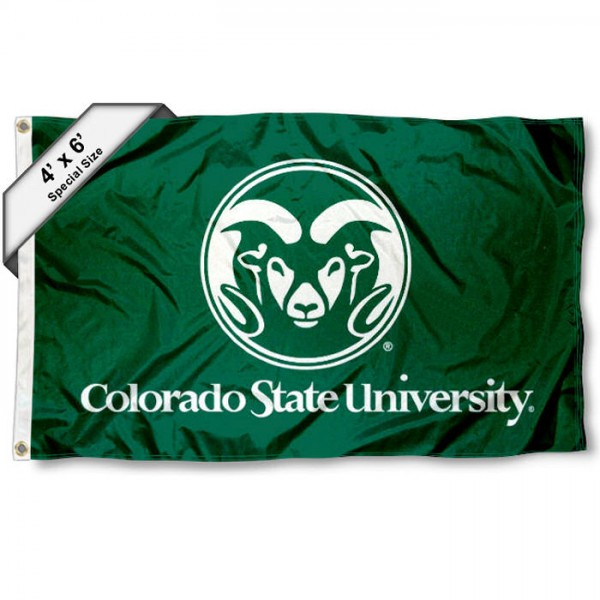 CSU Rams Large 4x6 Flag measures 4x6 feet, is made thick woven polyester, has quadruple stitched flyends, two metal grommets, and offers screen printed NCAA CSU Rams Large athletic logos and insignias. Our CSU Rams Large 4x6 Flag is officially licensed by CSU Rams and the NCAA.