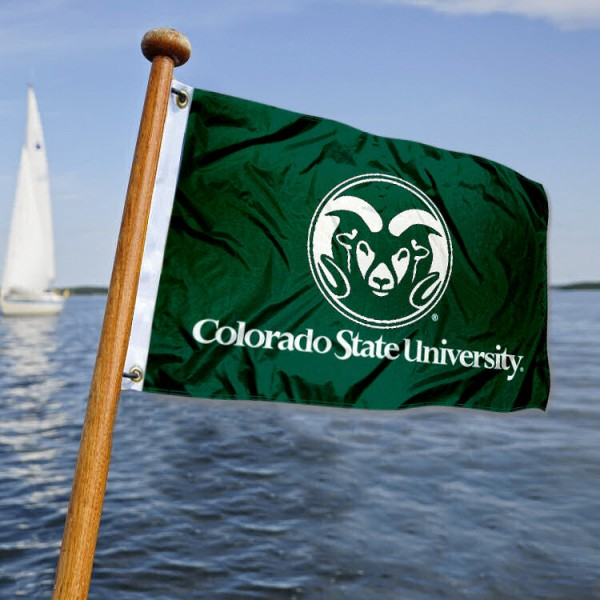 CSU Rams Nautical Flag measures 12x18 inches, is made of two-ply polyesters, offers quadruple stitched flyends for durability, has two metal grommets, and is viewable from both sides. Our CSU Rams Nautical Flag is officially licensed by the selected university and the NCAA and can be used as a motorcycle flag, golf cart flag, or ATV flag