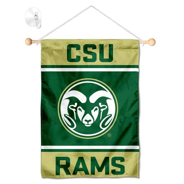 """CSU Rams Window and Wall Banner kit includes our 13""""x18"""" garden banner which is made of 2 ply poly with liner and has screen printed licensed logos. Also, a 17"""" wide banner pole with suction cup is included so your CSU Rams Window and Wall Banner is ready to be displayed with no tools needed for setup. Fast Overnight Shipping is offered and the flag is Officially Licensed and Approved by the selected team."""