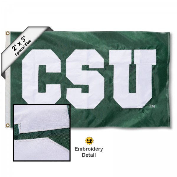 CSU Small 2'x3' Flag measures 2x3 feet, is made of 100% nylon, offers quadruple stitched flyends, has two brass grommets, and offers embroidered CSU logos, letters, and insignias. Our CSU Small 2'x3' Flag is Officially Licensed by the selected university.