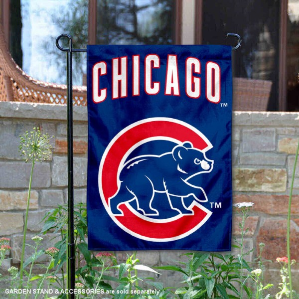 Cubs Walking Bear Logo Garden Flag is 12.5x18 inches in size, is made of 2-ply polyester, and has two sided screen printed logos and lettering. Available with Express Next Day Shipping, our Cubs Walking Bear Logo Garden Flag is MLB Genuine Merchandise and is double sided.